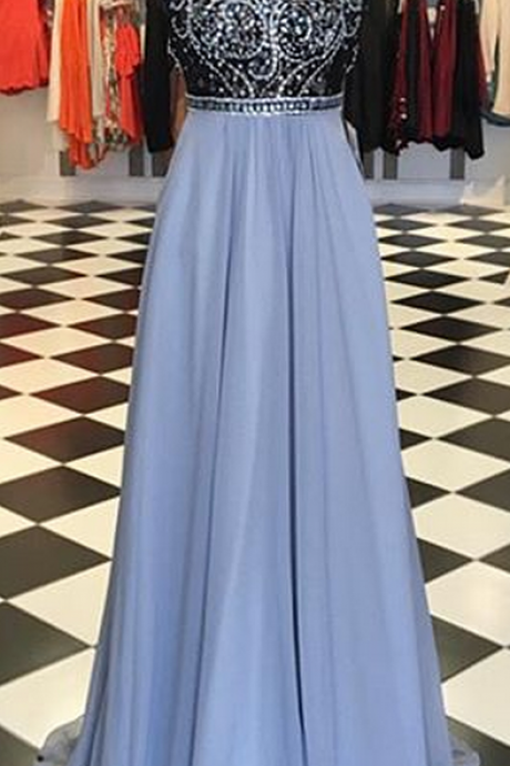 Halter Beaded A-line Long Prom Dress, Evening Dress