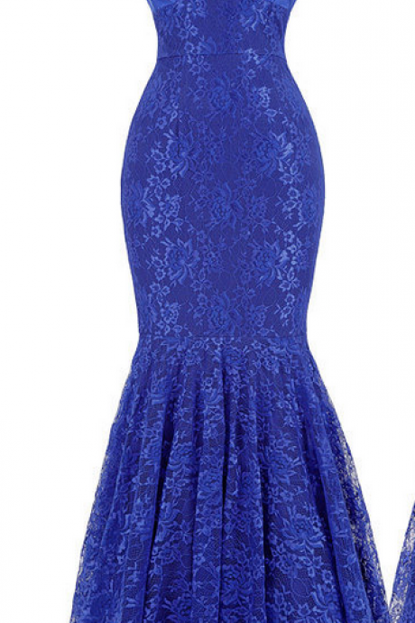 Blue Sleeveless Plunging V Lace Mermaid Long Prom Dress, Evening Dress Featuring V Back