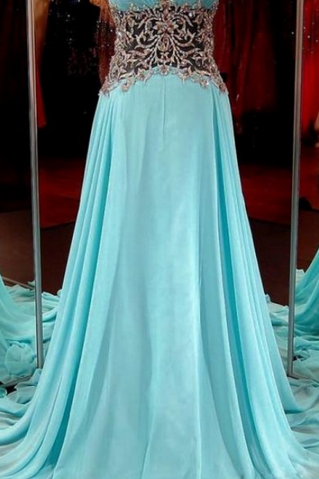 Strapless Sweetheart Ruched Sheer Beaded A-line Long Prom Dress, Evening Dress