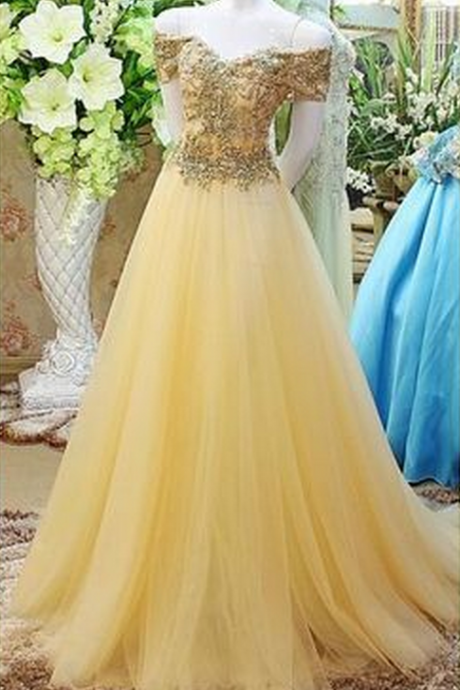 Cheap Long Yellow Tulle off the shoulder Evening Dress