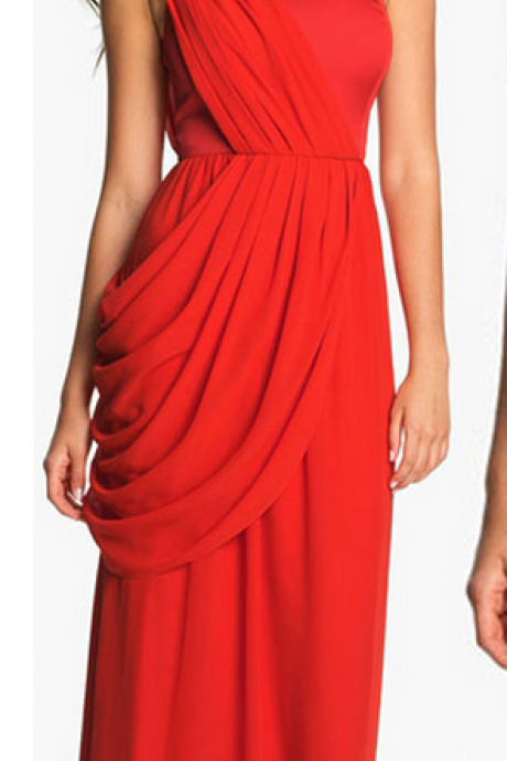 Custom Made Red One-Shoulder Long A-Line Chiffon Prom Dress with Casacading Detailing