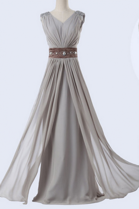 A-Line Evening Dress Chiffon Evening Dress Long V-Neck Evening Dress
