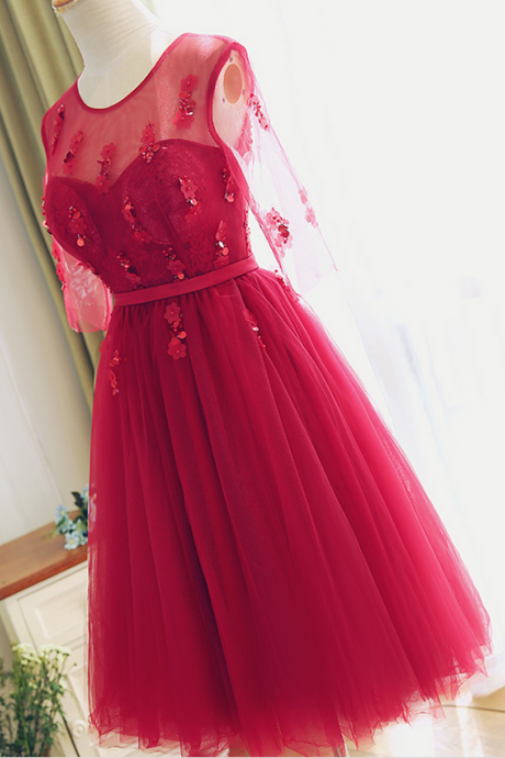 Party Dress, Tea length Red Lace Bridesmaid Dress,Half Sleeves Lace Prom Dress,Red Lace Cocktail Dress,Red Formal Party Dresses