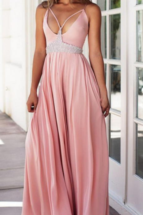 Blush Pink Prom Dresses,chiffon Prom Gowns,Pink Prom Dresses,Long Prom Gown,Sparkly Prom Dress