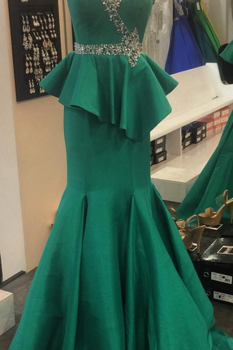 Emerald Satin Mermaid One Shoulder Evening Dress Long Ruffled Crystal Beaded Formal Gowns