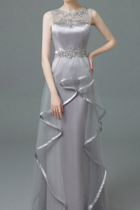 Silver Gray Prom Dresses,Long Prom Dresses,Lace Prom Dresses,Simple Prom Dresses,Cheap Prom Dresses,Evening Dresses