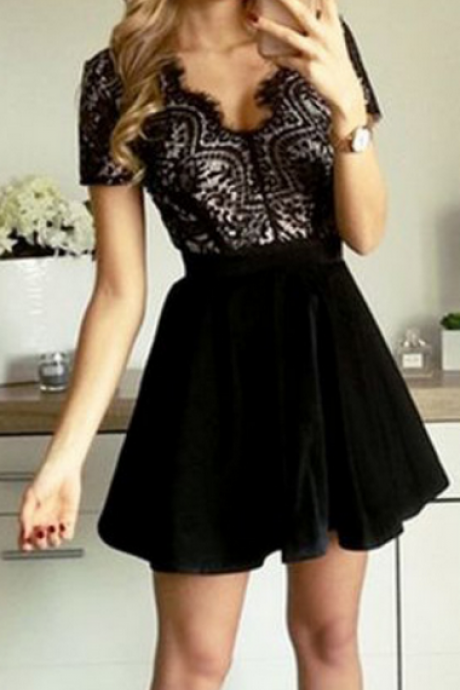 A-Line V-Neck Short Sleeves Open Back Velet Little Black Dress,Short Homecoming Dresses