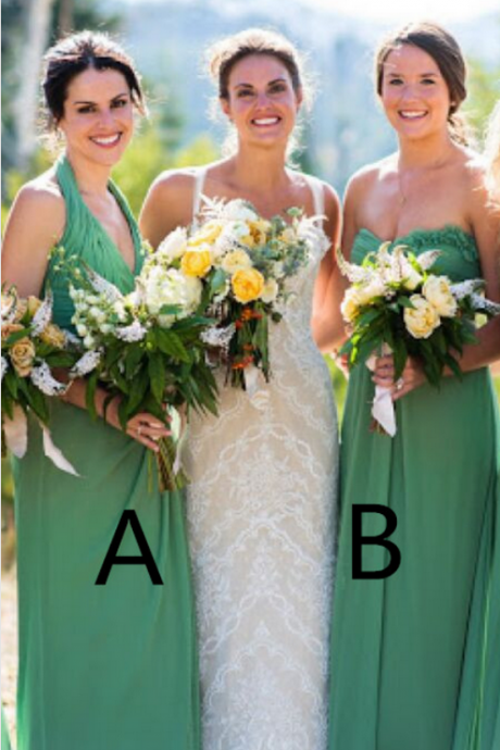 Three Styles Long Green Chiffon Bridesmaid Dresses,A-line Simple High Quality Bridesmiad Gowns,Cheap Bridesmiad Dress For Wedding