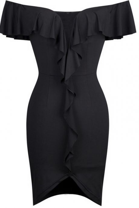 Black Off-the-Shoulder Plunging Bodycon Short Formal Dress, Cocktail Dress Featuring Ruffles