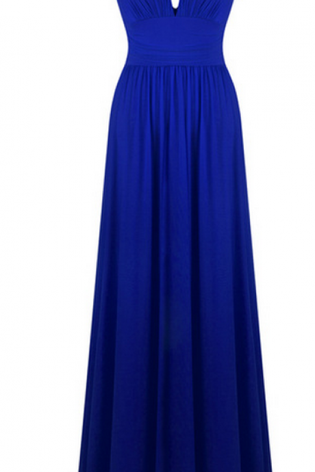 V neck creases light yarn long evening dress