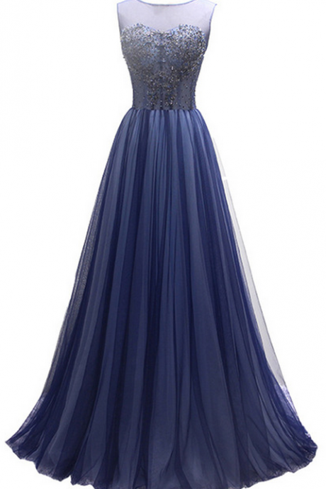 The new luxurious banquet party evening gown the bride deep! Sleeveless pearl layer, blue dress