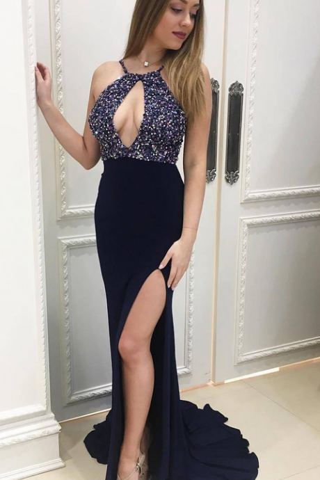 Dark Navy Blue Women Formal Gowns , Sexy Side Slit Evening Party Dresses, Stunning Sequins Dress ,Keyhole Neck Beading Gowns
