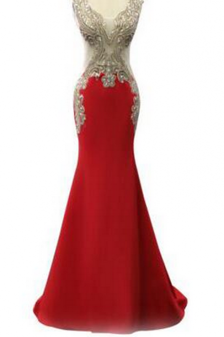 Red Mermaid Long Prom Dresses Sexy Backless Gold Lace Beaded Chiffon Women Formal Evening Dress