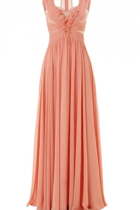 Sleeveless Ruched Beaded Chiffon A-line Floor-Length Prom Dress, Evening Dress Featuring Floral Detail