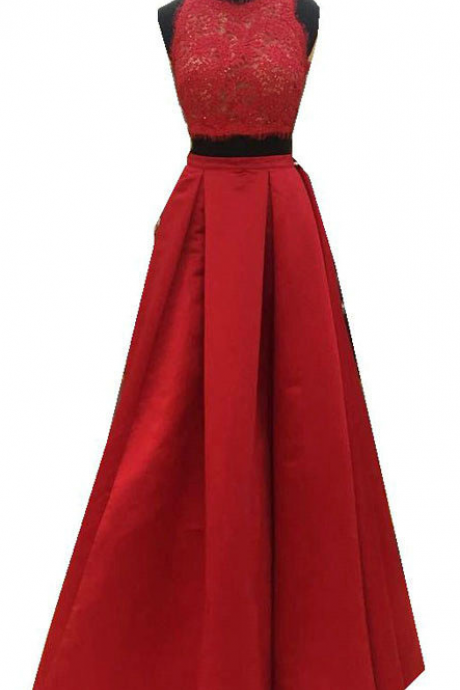 Fashion Lace Satin Floor Length Red Long Evening Dresses Autumn Formal Two Pieces Maxi Party Evening Gown