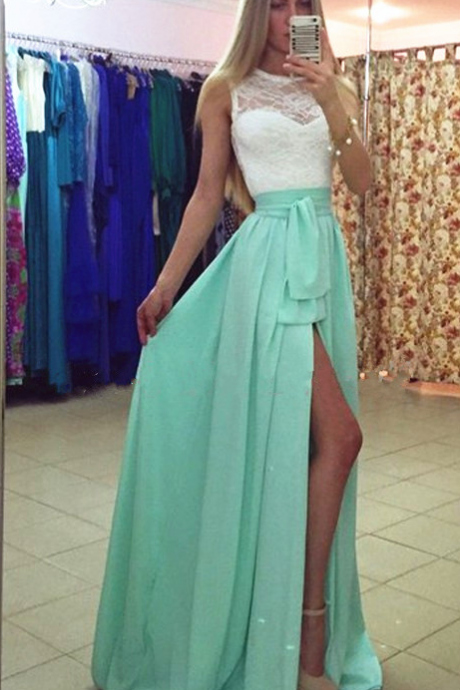 Beach Long Lace with Chiffon Prom Dress, Sexy Side Slit Cheap Party Dress