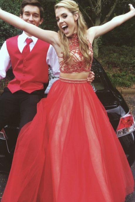 Piece Prom Gown,Two Piece Prom Dresses,Red Evening Gowns,2 Pieces Party Dresses,Tulle Evening Gowns,Sparkle Formal Dress For Teens