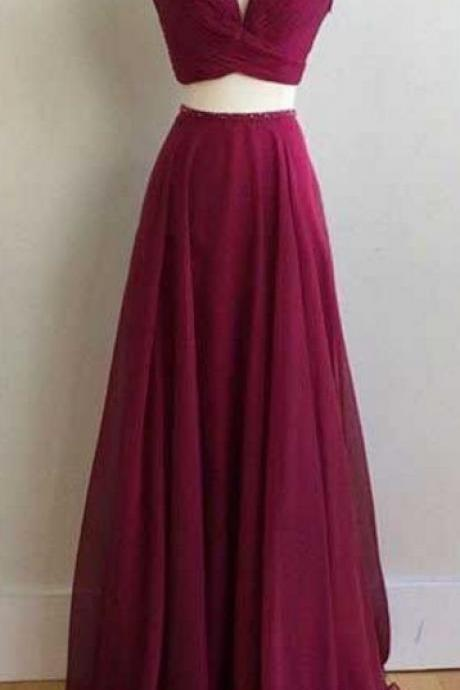 Two Pieces Chiffon Prom Dress