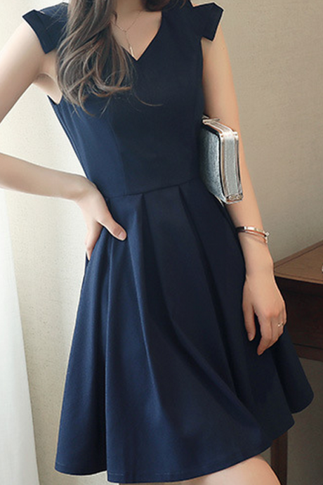 V-neck Pure Color Sleeveless Party Dresses