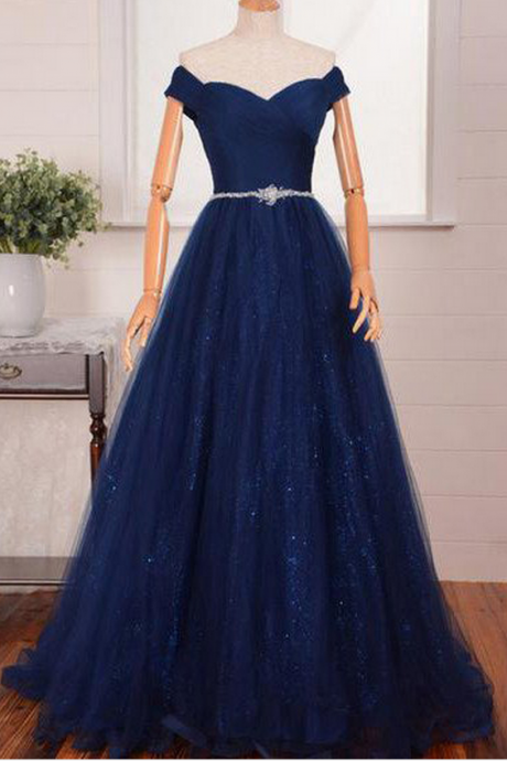 Blue Long A-line Off-the-Shoulder Beading Tulle Prom Dresses Prom Gowns,Prom Dresses