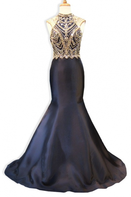 Mermaid Evening Dress, Black Evening Dress, Beaded Evening Dress, Long Evening Dress, Sexy Evening Dress, Backless Evening Dress, Formal Dresses