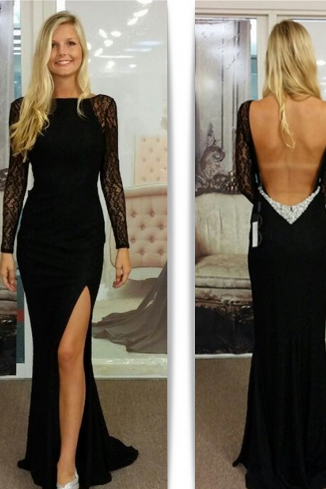 Black Prom Dresses,Elegant Prom Dress,Chiffon Prom Gown,Slit Long Prom Gown
