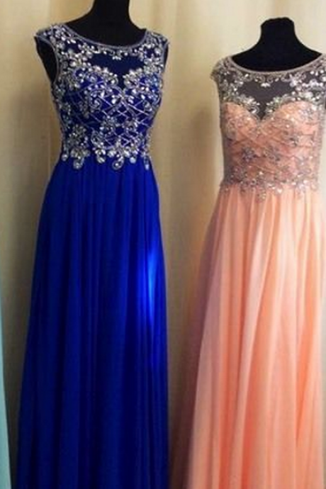 Charming Prom Dress, A-Line Beading Chiffon Prom Dresses