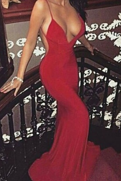 Red Sexy Backless Prom Dress, Modest Prom Dresses,Elegant Prom Dress,Prom Dress