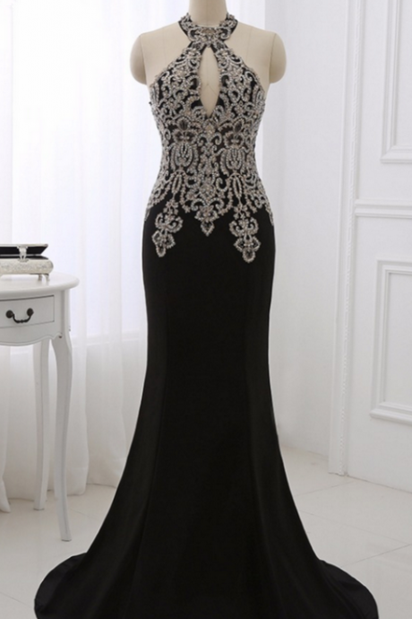 Evening Dresses Black Formal Women Prom Party Gowns Gold Appliques Sexy Halter Mermaid Dress Sleeveless Vestido De Festa
