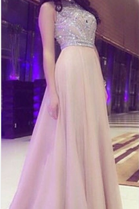 A-line Prom Dresses,Long Prom Dresses,Beaded Prom Dresses