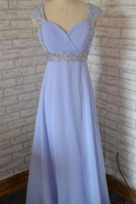 Sleeveless Ruched Beaded Empire Waist Floor-length Prom Dress, Evening Dress