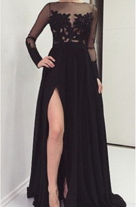 Sexy Black Appliques Prom Dresses O-Neck Prom Dresses Real Made Prom Dresses Chiffon Prom Dresses