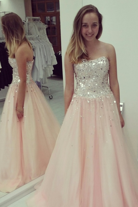 Hot High Quality Prom Dress A-Line Prom Dress Chiffon Prom Dress Strapless Prom Dress Sequined Prom Dress