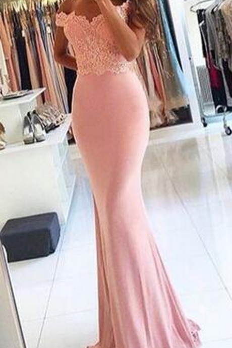pink lace prom dresses, off shoulder long prom dresses,Custom made mermaid Prom dress,