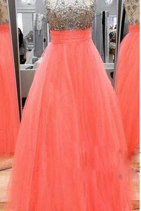 Beaded Prom Dresses,A-line Prom Dresses,Tulle Prom Dresses,Cheap Prom Dresses,Long Beaded Prom Dresses