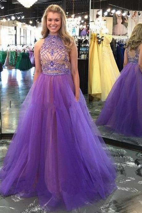 Beauty Purple Long Prom Dresses,Floor-Length Prom Dresses,Cheap Prom Dress, Charming Prom Dress