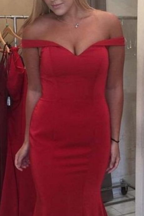 Red Off-the-Shoulder Zipper Mermaid Prom Dresses