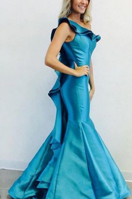 Blue One Shoulder Ruffled Hem Mermaid Satin Prom Dresses