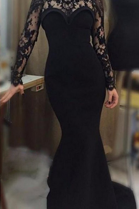 Black Lace Long Sleeves Scalloped Neck Mermaid Prom Dresses