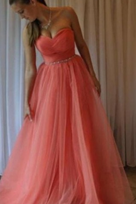 A-Line Sweetheart Sleeveless Floor-Length Tulle Water Melon Prom Dresses