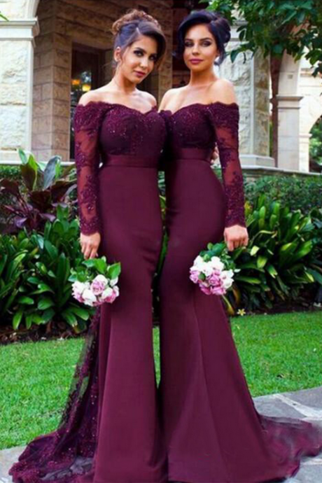 Ball Gown Off-the-shoulder Burgundy Prom Dress,Burgundy Wedding Gowns
