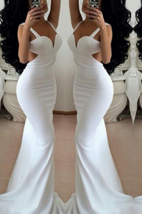 Straps White Floor Length Mermaid Prom Dress,Evening Dresses