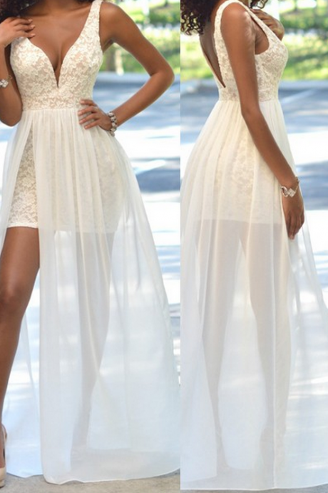 V-Neck Sleeveless White Lace Chiffon Prom Dress,Evening Dresses