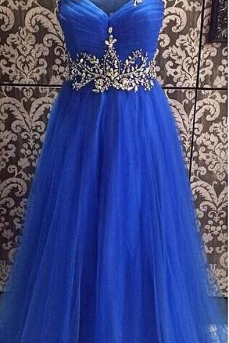 Beading Royal Blue prom Dress, Open Back Prom Dress,Long Chiffon Prom Dress