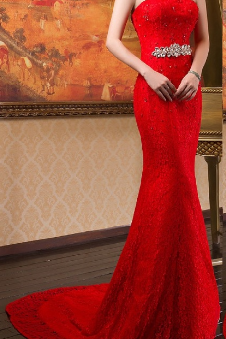 Charming Crystal Beading Bridal Gown,Red Mermaid Lace Formal Dress