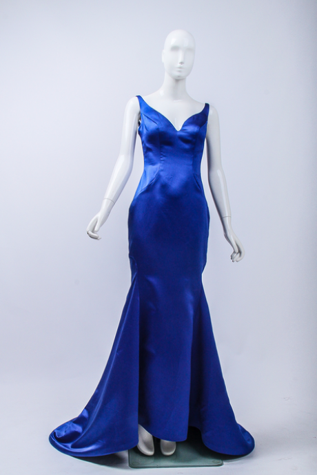 Royal Blue Evening Dress,Mermaid Evening Gown,Satin Formal Dress,Long Formal Dresses,V-neck Evening Dresses
