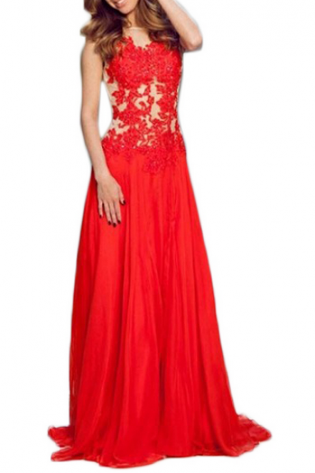 Evening Dress,Long Chiffon Evening Dress,Red Evening Dresses,See Through Evening Dresses