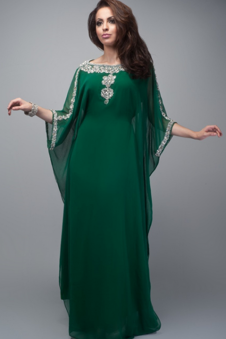 Muslim Emerald Green Appliques Beaded O-Neck Muslim Arabic Kaftan Dubai Fancy Islamic Clothing For Women Evening Dress