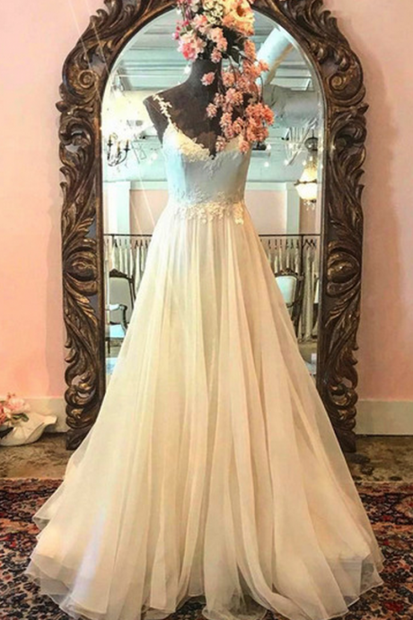 Charming Prom Dress,Appliques Prom Dress, A-lIne Dress,Tulle Evening Dress
