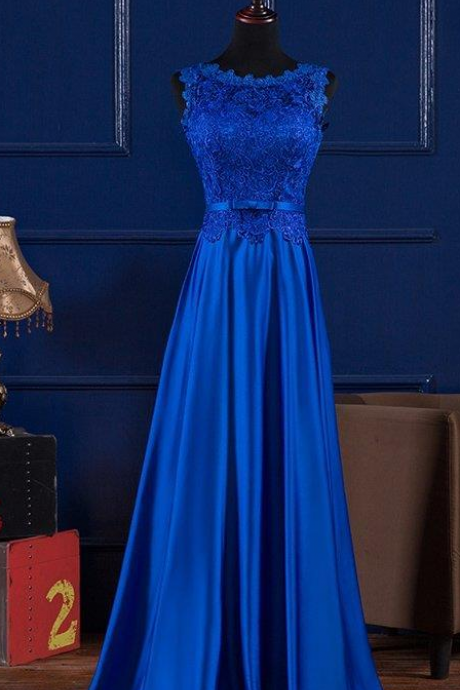 Scoop Neck Lace Satin Evening Dress, Blue Prom Dress, Floor Length Prom Dress, Long Royal Blue Prom Dress